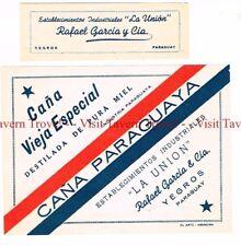 Unused 1940s PARAGUAY Yegros Rafael Garcia La Union Cana Paraguaya Wine Label