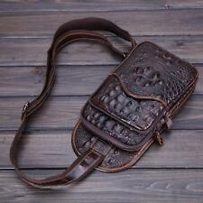 Men Genuine Leather Crocodile Grain Shoulder Bag Messenger Sling Pack Chest Bag