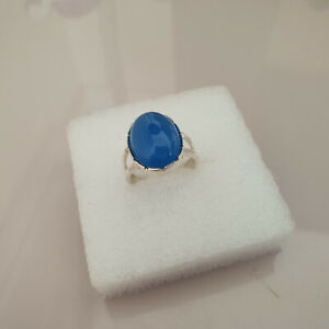 Beautiful Arizona Azure Onyx Solitaire ring in Sterling Silver