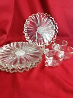 Indiana Colony Glass 4 Clear Daisy Snack Luncheon Plate & Cup Sets
