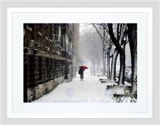 CULTURAL LANDSCAPE WINTER SNOW NEW YORK UMBRELLA BLACK FRAMED ART PRINT B12X7234