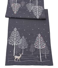 Winter Woods Embroidered Christmas Table Runner 40cm X 100cm