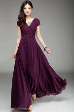 Oasap Surplice V Neckline Maxi Chiffon Dress Purple Size 12/UK 16 LF077 AA 08