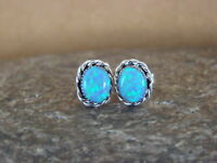 Zuni Indian Sterling Silver Oval Blue Opal Post Earrings! Cachini