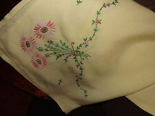 VINTAGE TABLECLOTH LINEN TABLECLOTH EMBROIDERED TABLECLOTH FLOWERS 1980's