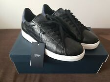 Armani Jeans Leather Black Sneakers 41 26,5cm Brand New with Box
