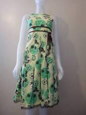 Lida Baday Women's Yellow Cotton Floral Print Sleeveless Dress Size 4