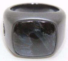 David Yurman Exotic Stone Signet Ring w/ Pietersite in Black Titanium - Size 10