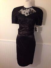 VTG  1980's Jessica McClintock Gunne Sax Cocktail Dress Black Lace Size 9-10