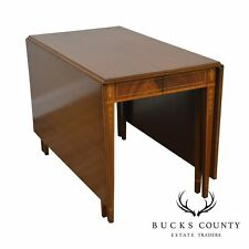 Vintage Custom Mahogany Inlaid Drop Side Dining Table with 3 Leaves
