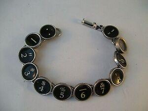 Vintage Typewriter Key Bracelet NUMBERS 12 Glass Keys Hand Made OOAK 1 to 10
