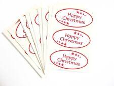 Happy Christmas Adhesivos Rojo sobre Blanco - Etiquetas para Tarjetas Sobres