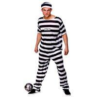 Adult PRISON BREAK CONVICT Inmate Prisoner Fancy Dress Costume Mens Jail Outfit