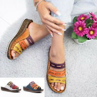 Women Summer Casual Retro Leather Flat Flip Flop Slipper Platform Sandals Shoes
