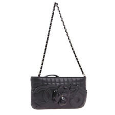 CHANEL Camellia No.5 CC Chain Hand Bag Pouch Purse Black Leather S10135