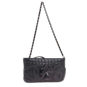 CHANEL Camellia No.5 CC Chain Hand Bag Pouch Purse Black Leather 05686