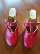 Maguba Swedish Handmade Clogs Natural High red Size 41 US size 10 10.5