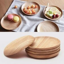 12/14/15cm Wooden Round Plate Food Snack Serving Breakfast Tray Salad Bowl & Unbranded Wooden Round Dinnerware Plates | eBay