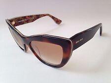 New Authentic Miu Miu By Prada Cat Eye Rasoir Sunglasses Brown Havana Flower