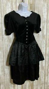 VTG 80s Miss Dorby Black Velvet A-Line Dress Gothic Victorian Steampunk Size 8