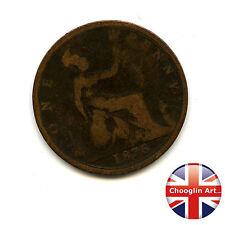 Un bronzo Britannica 1876 H Victoria PENNY COIN (Heaton) (Ref:1876_176/77)