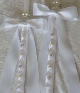 """24"""" Greek Orthodox Wedding Ceremony Candle Lambathe Lambades Set Ivory or White"""