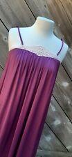 Vintage deep purple KAYSER Full Length Nylon Nightgown babydoll M medium lace