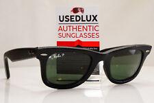 DAMAGED Authentic Ray-Ban Polarized Sunglasses Leather Wayfarer RB 2140QM  27915