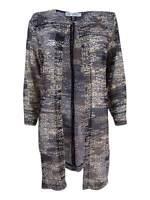 Kasper Women's Plus Size Printed Flyaway Jacket (1X, Black Multi)