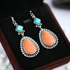Pretty Drop Earrings for Women 925 Silver Jewelry Turquoise A Pair/set