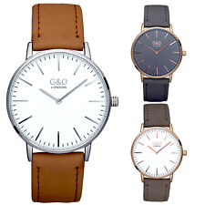 G&O 037 Unisex Wristwatch Rose and Silver Slim Case Grey and Brown Leather Strap