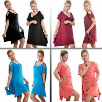 Eskaay Womens Casual Short Sleeve Cutout Shoulder Summer Party Loose Fit Top