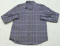 Express Gray Black & Purple Dress Shirt Striped Large Long Sleeve 2 Pocket 16.5