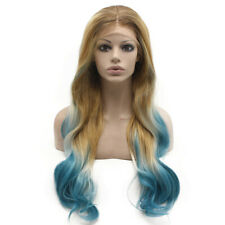 Long Wavy Blonde Blue Ombre Hand Tied Lace Front Synthetic Wig