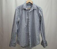 Perry Ellis Mens Light Blue Plaid Button Down Shirt Size L Long Sleeve EUC
