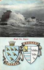 Rough Sea Bognor coats of arms 1905 Postcard