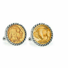 NEW Gold-Layered Buffalo Nickel Silvertone Rope Bezel Coin Cuff Links 12740