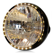 "HAUPT SCHEINWERFER NEW NEVO 7"" SCHWARZ LED STANDLICHT RING H4 KLAR GLAS MOTORRAD"