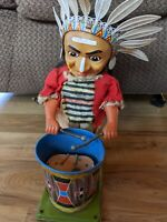 Vintage Tin Indian Drummer Toy - Doesn't Work