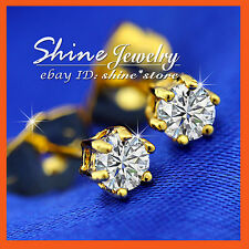 24K GOLD GF E98 SIMULATED DIAMONDS T.W. 1.0 CARAT ROUND STUD GIFT SOLID EARRINGS