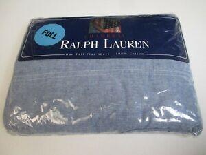 New Ralph Lauren CHAMBRAY Blue Flat Sheet - Full