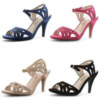 Womens Ladies Stiletto High Heel Ankle Strap Peep Toe Cut Out Girls Shoes Size