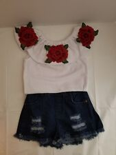Toddler Girl Size 2/3 Summer Denim Shorts with White Top SET New with Tags.