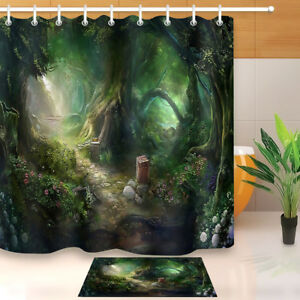 Green Fantasy Forest Stone Path Shower Curtain Set Bathroom Mat Polyester Fabric