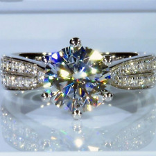 3.14 TCW Round Cut Brilliant Moissanite Engagement ring in 14K White Gold Plated