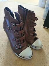 Ash Thelma Cuña De Cuero Zapatillas Sneakers Size 5 EU 38