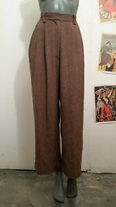 Emmy High Waist Vintage 1940's Style Brown Trousers