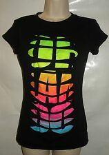 Women's Black T Shirt with Cut Out Front & ORLANDO Graphics Under Layer Size M