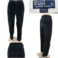 POLO RALPH LAUREN Men's 36 x 32 Navy Blue Pleated Andrew Corduroy Pants EUC