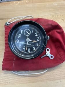 RARE Vintage Mark I US Navy 1941 Ship's Boat Clock Seth Thomas WWII With Key